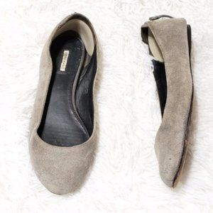 Vera Wang | Suede Leather Flats w Zipper Detail